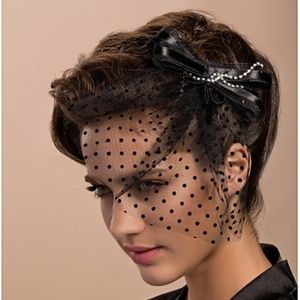 Blusher Black Veil w/Rhinestones Fascinators Derby